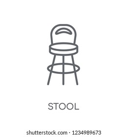 Stool linear icon. Modern outline Stool logo concept on white background from Furniture and Household collection. Suitable for use on web apps, mobile apps and print media.