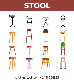 Stool, Sitting Furniture Vector Linear Icons Set. Bar Stool, Furniture And Seating. House Interior Items For Sitting Thin Line Pictograms. Home Trendy Design Elements Flat Illustrations