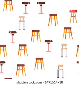 Stool, Sitting Furniture Vector Seamless Pattern Flat Illustration