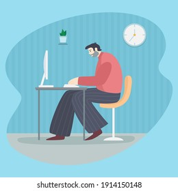 A stooped man is working at the computer. Freelancer with poor posture. A man sits hunched over the table. Incorrect sitting position. Vector illustration.