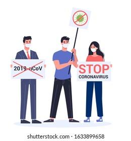 Stop 2019-nCoV covid-19 demonstration. Coronovirus alert. Dangerous virus epidemic protest. Isolated vector illustration in cartoon style