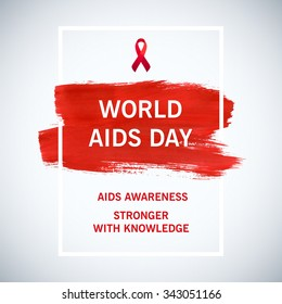Stop AIDS poster World Aids Day concept with typography and red ribbon of aids awareness. 1st December. Red brush stroke poster.