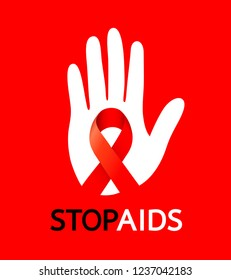 Stop AIDS sign with white hand and red ribbon. World AIDS Day. Aids Awareness icon design for poster, banner, t-shirt. Vector illustration isolated on red background.