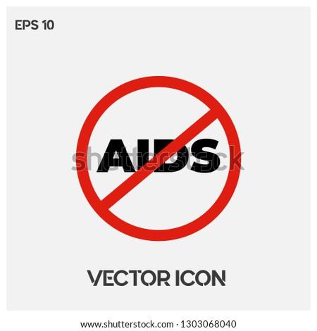 Stop AIDS Symbol Icon Vector Premium Quality Stock Vector