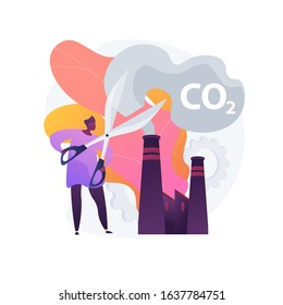 Stop air pollution. Carbon dioxide reduction, environmental damage, atmosphere protection. Toxic emission problem. Ecology volunteer cartoon character. Vector isolated concept metaphor illustration