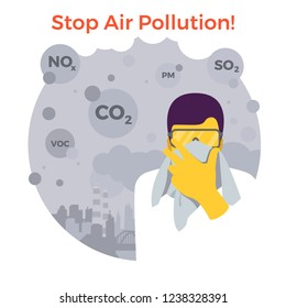 Stop air pollution. Man with glasses is trying to defend himself with a handkerchief from fine dust, air pollution, industrial smog, pollutant gas emission. Stormy sky city. Vector illustration.