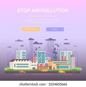 Stop air pollution - modern flat design style vector illustration on purple background with place for text. A plant making hazardous substances emissions with pipes, cars on the road. Ecological theme