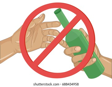 Stop the alcohol. A man offers a drink, holding a bottle in his hand.Vector.Prohibiting red sign.