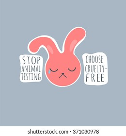 Stop animal testing crying bunny logo