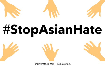 stop asian hate vector.Stop spread of racism.Racism is not comedy.Anti racist.Banner poster background for protester.Stop hate  crimes against asians.Support Asian american communities.Equality