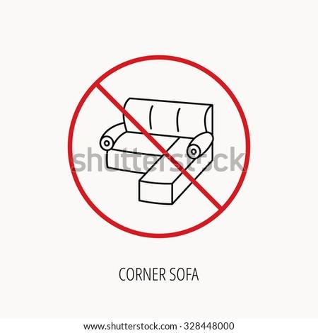 Stop Ban Sign Corner Sofa Icon Stock Vector Royalty Free 328448000