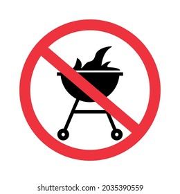 STOP BBQ symbol. Forbidden zone for barbecue grill. Informational sign. No cooking. Vector illustration on white background