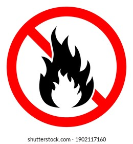 Stop bonfire icon. No fire icon. Red ban of flame sign. Vector illustration. Make a fire is prohibited