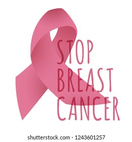 Stop Breast Cancer Banner With Pink Ribbon