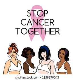 Stop breast cancer together symbol. Portrait of european, african, asian, indian women. Sketching female health illustration