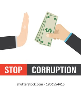 Stop bribery and corruption, concept. Hand gives banknotes, other businessman shows stop gesture, deny bribe. Cartoon hand refusing to receive money cash. Design isolated on white. Vector illustration