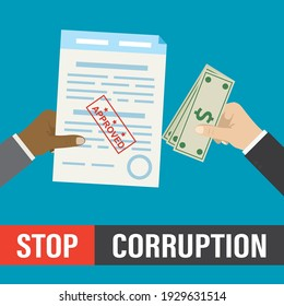 Stop bribery and corruption, concept. Hand gives banknotes, other hand holds accepted contract. Bribe, successful deal. Illegal payment. Design isolated on blue background. Flat Vector illustration