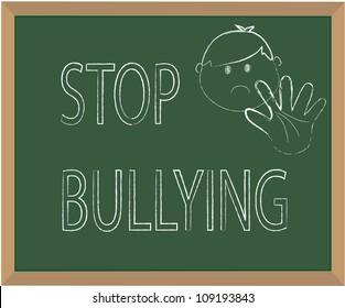 Stop bullying chalk illustration vector