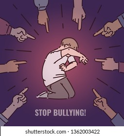 Stop bullying concept for posters, banners. A group of bully people are bullying a afraid boy child, point fingers at him. Social bullying at school, children abuse, vector cartoon illustration.