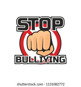 stop bullying, no bullying logo, vector illustration