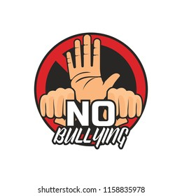 stop bullying, no bullying logo, vector illustration