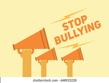 Stop bullying posters illustration with hands holding a megaphone