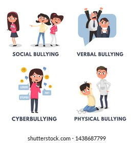 Stop bullying posters set. Bullying types in cartoon style verbal, social, physical, cyberbullying. Bullying at school and in the office. Vector illustration