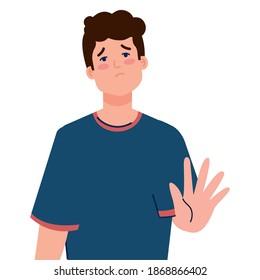stop bullying and sad boy kid design, violence victim bully and social theme Vector illustration