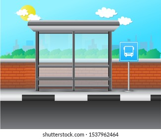 Stop Bus Realistic Vector Illustration