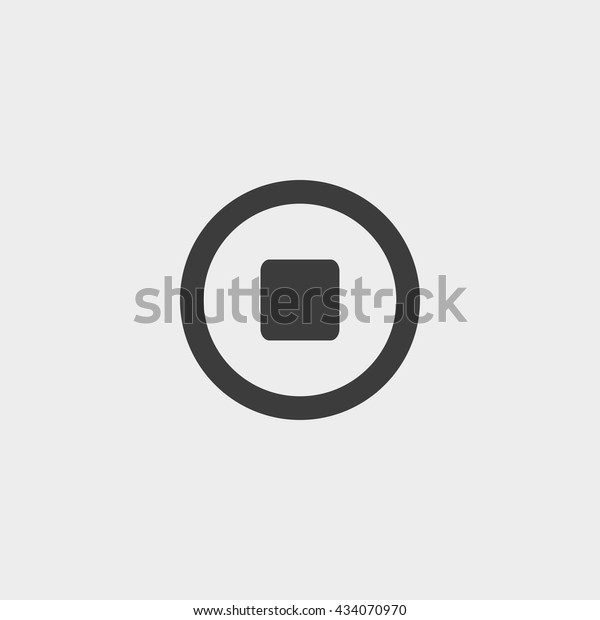 Stop Button Icon Flat Design Black Stock Vector (Royalty