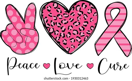 Stop cancer. Fight cancer. Motivation lettering. Peace, heart and pink ribbon illustration vector