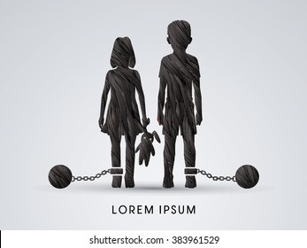 Stop Child abuse ,Children with chain and ball designed using black grunge brush graphic vector.