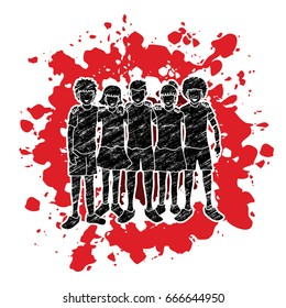 Stop child abuse ,Group of Children arm around another's shoulder, Children hugging designed on splatter ink background graphic vector.
