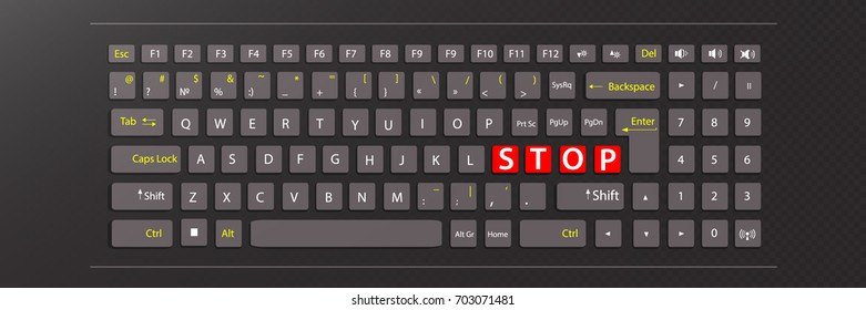 stop concept. illustration keyboard with red keys with the word stop
