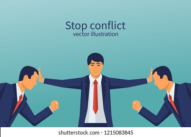 Stop conflict. Businessman referee finds compromise. Mediator solving competition. Conflict and solution. The man throws two fists. Vector illustration flat design. Isolated on white background.