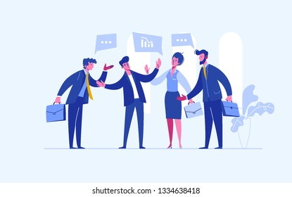 Stop conflict. Businessman referee finds compromise. Mediator solving competition. Conflict and solution. The man throws two fists. Vector illustration flat design. Isolated on white background