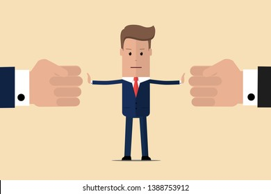 Stop conflict. Businessman referee finds compromise. Mediator solving competition. Conflict and solution. The man throws two fists. Man stop conflict or stop fighting. Vector illustration