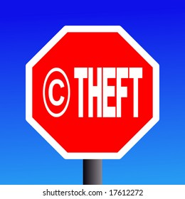 stop Copyright theft sign on blue sky illustration