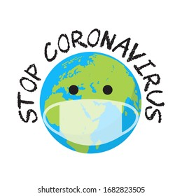 Stop Coronavirus concept  in cartoon style. Planet Earth in a medical mask. Corona virus protection. Vector illustration.
