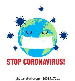 Stop coronavirus! Crying planet in virus mask. Pandemic. Wuhan coronavirus illustration. Medical illustration. Covid-19