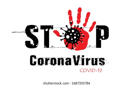 Stop coronavirus. Coronavirus outbreak vector illustratin. Pandemic medical concept with dangerous cells.  Palm gesture denoting stop.