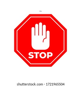 Stop coronavirus red sign. No covid-19 sign isolated. Vector icon of hand