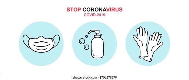 Stop coronavirus text icon. Vector monoline soap gel bottle sanitizer, medical mask and rubber gloves icons. Simple element illustration for covid-19. Personal hygiene.