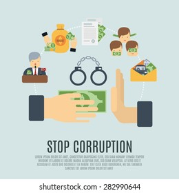 Stop corruption concept with bribe corrupt business flat icons set vector illustration