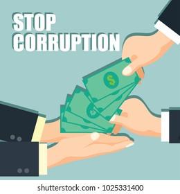 stop corruption concept businessman hand refusing corruption money, vector illustration