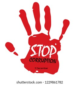 Stop corruption hand stamp with text on white background vector illustration