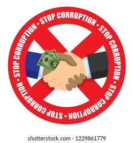 Stop corruption icon money check hand in white background vector illustration