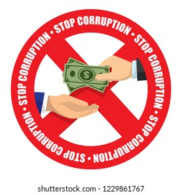 Stop corruption icon money received in white background vector illustration