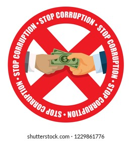 Stop corruption icon money received in white background vector illustration 02