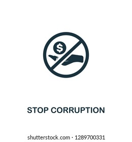 Stop Corruption icon. Premium style design from corruption collection. Pixel perfect stop corruption icon for web design, apps, software, printing usage.